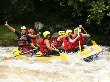 Rafting down the river in Reunion Island